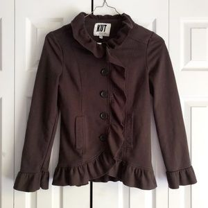 Kut From The Kloth Brown Ruffle Button Up Jacket S